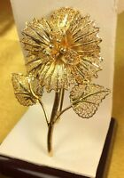 Vintage Sterling Silver Filigree Gold Wash Floral Brooch Pin Fine Jewelry