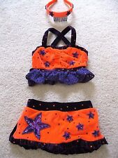 National Pageant SwimSuit Swim Wear Orange Purple Stars Glitz 3PC Girls 7-8 8-10