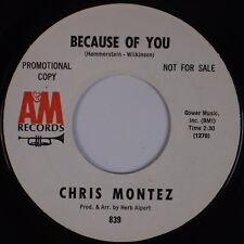CHRIS MONTEZ: Because of You / Elena USA A&M Jazz Latin Easy PROMO 45 Hear