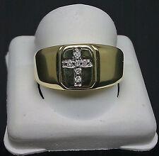 10K Men's Yellow Gold 0.06CT Round Diamond Ring With Cross/ Band