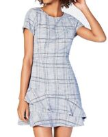 Speechless Blue Size Small S Junior A-Line Dress Tiered Tweed Crew $59 #284