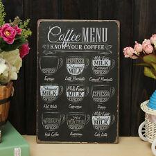 Vintage Coffee Menu Metal Sign Tin Plaque Poster Bar Pub Wall Club Home Decor