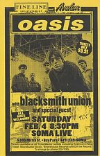 Oasis - Soma, San Diego Feb 4th 1995 Concert Flyer ,Noel Gallagher, Liam