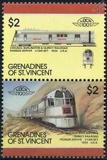 1934 CB&Q Pioneer Zephyr Railcars (Burlington Railroad) Train Stamps / LOCO 100