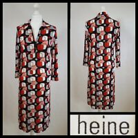 Heine Black Red Retro Print Fitted Long Sleeve Collared Dress Size UK 12