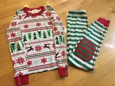 Hanna Andersson Long Sleeve Pajamas Size 140 Cm US 10 Red Green Christmas Theme