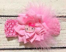 Handmade Pink Hello Kitty Marabou Feather Flowers Baby Girl /Girl Headband