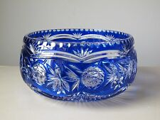 Lausitzer Lead Crystal Cobalt Blue Cut to Clear Large Centerpiece Bowl Germany
