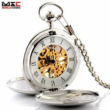Silver Mens Steampunk Mechanical Skeleton Pocket Watch Pendant Antique Style New