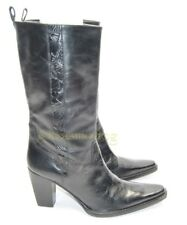 Womens Antonio Melani Boots Heels Mid Calf Knee High Size 6.5 US Black Leather
