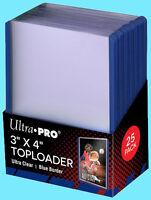 25 Ultra Pro 3x4 BLUE BORDER TOPLOADERS Standard Size Trading Card Rigid Sports