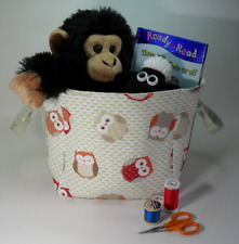 Fabric Storage Cube Basket, Heavy Duty Cotton, Fully Lined, Carry Handles, Owls