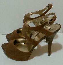 GUESS State Platform Sandals Medium Brown Suede Size 9.5