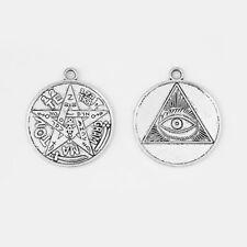 5Pcs Antique Silver 35mm Pewter Wiccan TETRAGRAMMATON Pentagram Star Pendant