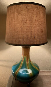 Ceramic Argento Madrid Table Lamp Green And Brown Glaze With Copper Colored Feet