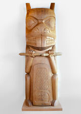 9-Foot Red Cedar Totem Pole Beaver Design Chief Walter Harris Free Shipping 1976