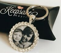 Diamante Crytsal Personalised Photo Keyring - Christmas Present Gift Box