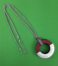 """Antiqued Silver Mesh Chain Deep Red Wood & Silver Round Pendant Necklace 24"""""""