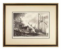 """""""The William White"""" Clipper Ship Etching by Alan Jay Gaines Gorgeous Condition!"""