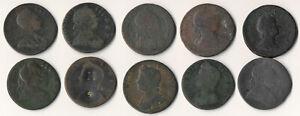 TEN(10) COLONIAL ERA COINS 1719-1775 >> INTERESTING ODD LOT >> NO RESERVE