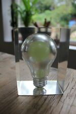 More details for vintage retro glow in the dark resin lightbulb paperweight