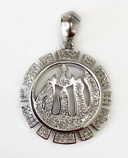 Allah Pendant 10K Solid White Gold 0.20 Ct Natural Diamond Muslim Name of God