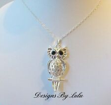 "Large Owl Necklace ~ Sterling Silver 925 Chain ~ Silver Plated Pendant 18"" UK"