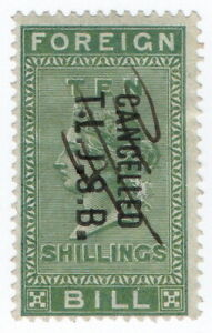 (I.B) QV Revenue : Foreign Bill 10/- (1872) London Joint Stock Bank pre-cancel