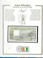 West African Ivory Coast Banknote 500 Francs 1988A P 106Aa wFDI UN FLAG UNC N.17