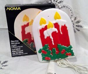 Vintage Noma Christmas Window light up Candle. Plastic. Double sided.
