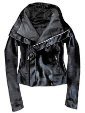 RICK OWENS Black Ponyskin Calf Fur Biker Moto Funnel Neck Jacket US 8 / IT 42