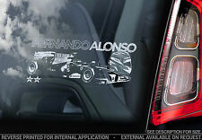 Fernando Alonso-Voiture Fenêtre Autocollant-F1 champion de Formule 1 Autocollant Signe Art-V04