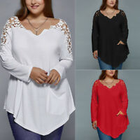 Plus Size Fashion Summer Womens Solid Lace Long Sleeve T-shirt Casual Top Blouse