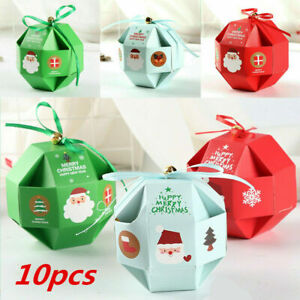 10pcs Christmas Party Bags Bell Sweets Carrier Favour Candy Xmas Gift Boxes New