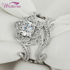 Engagement Ring Set For Women Size 8 New listing Round White Aaa Cz Flower Wedding Band
