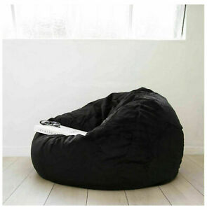 """Awesome 1 PC Velvet Black (48""""x48""""x34"""") Bean Bag Cover Without Beans Comfortable"""