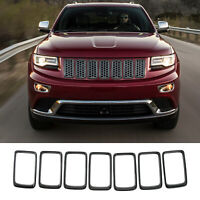 For Jeep Grand Cherokee Chrome Front Grille Trim Ring Insert Vent ABS Set 14-18