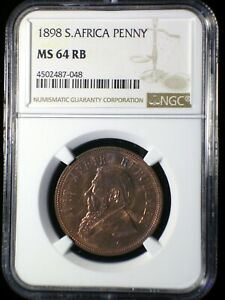South Africa ZAR 1898 Penny *NGC MS-64 RB* Scarce Boer War 4 Year Type Looks Gr8