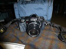 MINOLTA 700 MAXXUM 35mm SLR Film Camera W/ AF 35-70MM Lens, Bag, Flash & Swag
