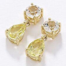 Sparkling 0.66 Carat Lemon Quartz Pear-Drop Jewellery Earrings Yellow Gold (NEW)