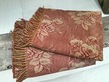 Antique 19th French fabric Copper Plate Printed Cotton Curtain panels Fringe
