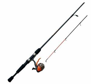 """Zebco 6'6"""" Triggerspin Combo Crappie Fighter 2 pc rod Durable Orange Tip"""