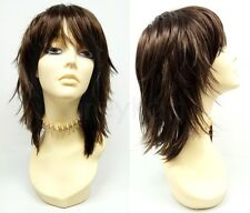 """Brown Shag Wig Straight Layered Bangs Synthetic Anime Cosplay Costume 12"""""""