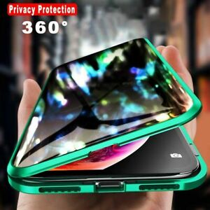 Privacy Magnetic 360° Full Cover Tempered Glass & Metal Case for iPhone11 XS 7 8
