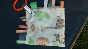 Taggie Blanket, Taggy, security blanket,jungle animals minky backing