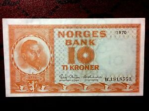 NORWAY 10 KRONER 1970 W BANKNOTE,AU- UNC