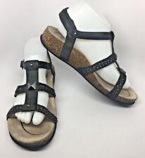 774c6b5a3ae ABEO BioSystem Miramar Womens Black Leather Cork T-Strap Sandals  8850 Sz 9  Neut