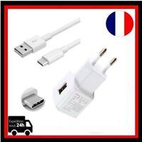 Câble Micro USB Type C Chargeur Adaptateur Prise mural  Samsung Galaxy S8 Blanc
