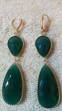 14k Yellow Gold Earrings with Green Agate & Leverback