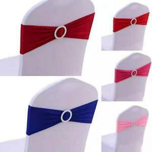 Banquet Chair Cover Sashes Bow Buckle Band Spandex Stretch Wedding Party  Decor